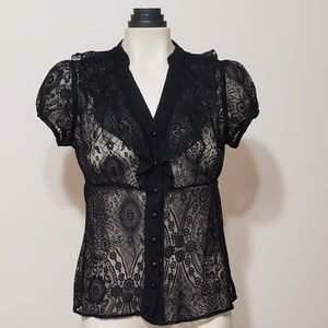 AGB black lace button down blouse, small